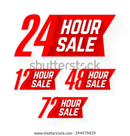 12, 24, 48 and 72 Hour Sale labels. Vector illustration. - stock vector
