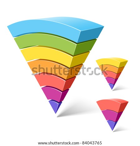 7, 5 and 3-layered segments. Vector. - stock vector