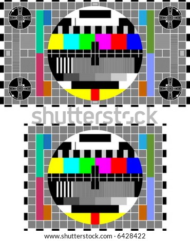 16/9 and 4/3 TV test screen - stock vector