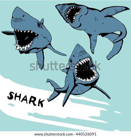 Angry Shark Set - stock vector