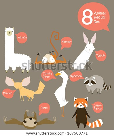 8 Animal - stock vector