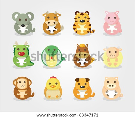 12 animal icon set,Chinese Zodiac animal , - stock vector