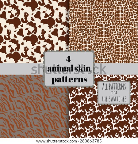 4 animal skin seamless patterns set. All patterns in the swatches panel.