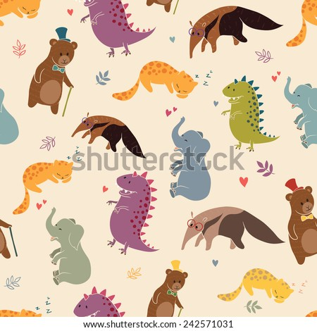 Animals pattern. Can be used to print on fabric, clothes and other printed items. - stock vector