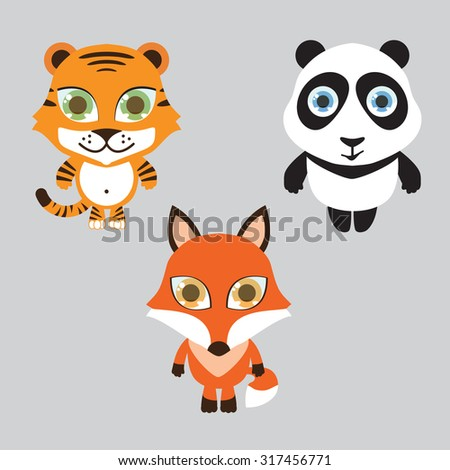 Animals set of vector icons - stock vector