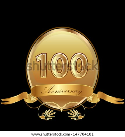 100 anniversary birthday seal in gold design with bow icon vector - stock vector
