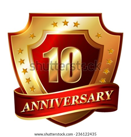 10 Anniversary golden label with ribbon. - stock vector