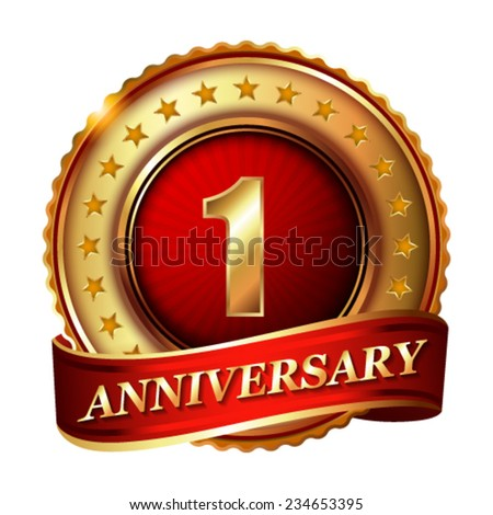 1 Anniversary golden label with ribbon. Vector illustration. - stock vector