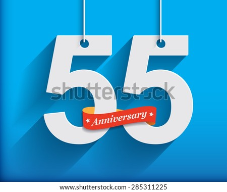 55 Anniversary numbers with ribbon. Flat origami style with long shadow. Vector illustration
