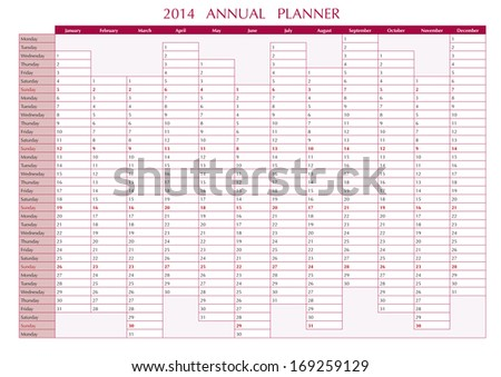 2014 Annual Planner in english. 2014 Wall Calendar - stock vector