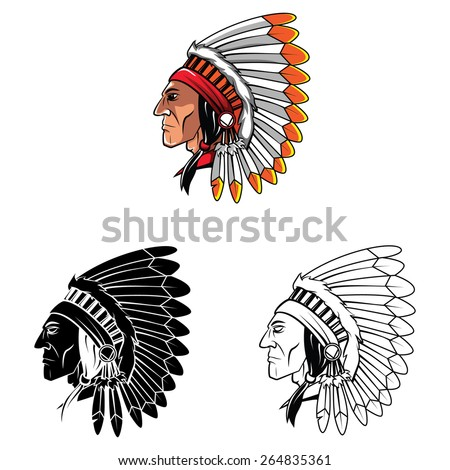 Apaches Mascot set collection tattoo.Vector illustration on white background - stock vector