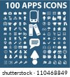 100 apps & mobile phone icons set, vector - stock photo