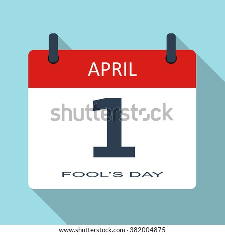 1 April. Fools day. Vector flat daily calendar icon. Date and time, month. Holiday. Modern simple sign template for web site and mobile app illustration.  - stock vector