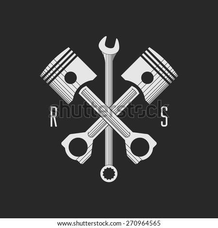 ?ar or bike workshop logo template (concept). Vector illustration. Car engine pistons and spanner combined in vector sign. Logo template. - stock vector