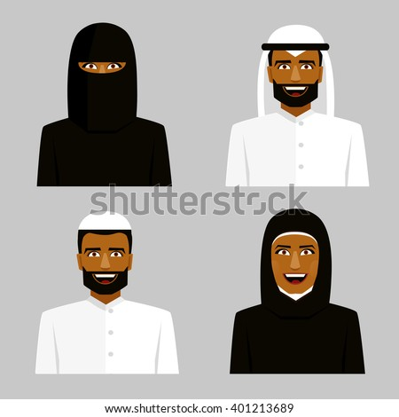 Arab man and woman in hijab. Traditional arabic clothing. - stock vector