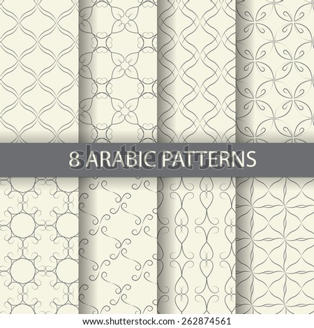 8 arabic pattern background, Pattern Swatches, vector, Endless texture can be used for wallpaper, pattern fills, web page,background,surface - stock vector