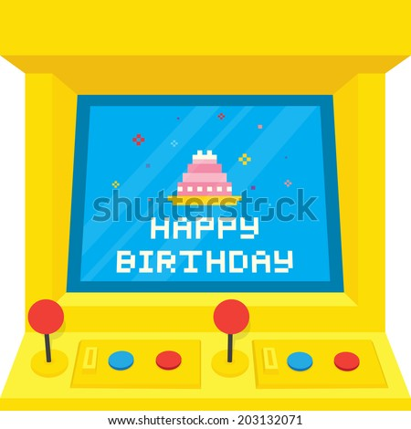 """Arcade machine cake"" birthday vector card - stock vector"