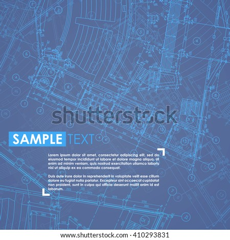 Architecture design: blueprint background. Building construction. Engineer illustration. Vector. Under construction page. - stock vector