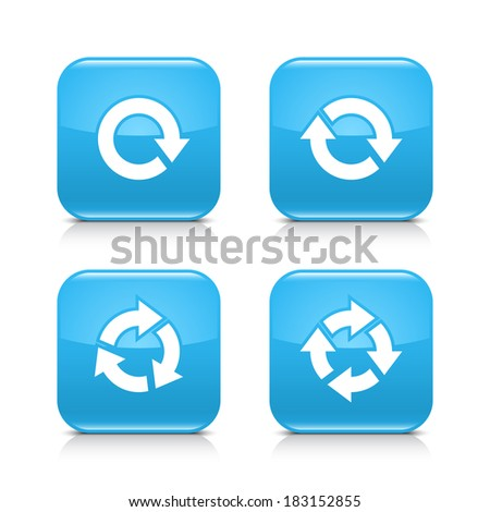 4 arrow blue icon. White repeat, reload, refresh, rotation sign. Set 01. Rounded square web button with black shadow, gray reflection on white background. Vector illustration design element in 8 eps - stock vector