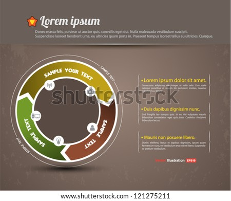 3 arrow circle loop / business plan / education template / infographic / information project - stock vector