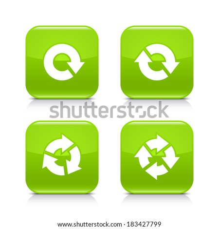 4 arrow green glossy icon. Repeat, reload, refresh, rotation white sign. Set 03. Rounded square button with gray reflection, black shadow on white background. Vector illustration web design in 8 eps - stock vector