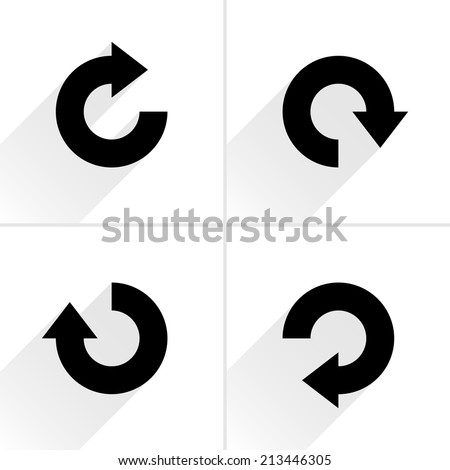 4 arrow icon refresh, rotation, reset, repeat, reload sign set 04. Black pictogram with gray long shadow on white background. Simple, plain, solid, flat style. Vector illustration web design 8 eps - stock vector