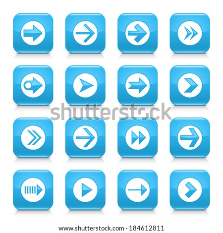 16 arrow icon set 03. White sign on blue rounded square button with gray reflection, black shadow on white background. Glossy style. Vector illustration web design element save in 8 eps - stock vector