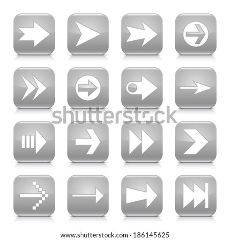 16 arrow icon set 02. White sign on blue rounded square button with gray reflection, black shadow on white background. Glossy style. Vector illustration web design element save in 8 eps - stock vector