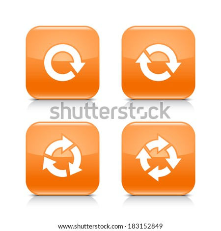 4 arrow orange icon. White repeat, reload, refresh, rotation sign. Set 02. Rounded square web button with black shadow, gray reflection on white background. Vector illustration design element in 8 eps - stock vector