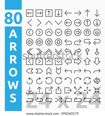 80 Arrow outline icons for user interface and web project base on 24 pixel grids. Minimal navigation sign and symbols collections. Vector illustration - stock vector