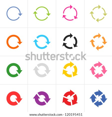 16 arrow pictogram refresh reload rotation loop sign set. Simple color web icon on white background. Modern contemporary solid plain flat minimal style. Vector illustration design elements 8 eps - stock vector