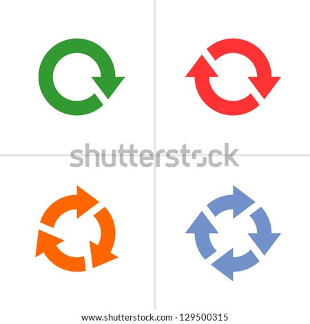 4 arrow pictogram refresh reload rotation loop sign set. Volume 03 (color). Mono solid plain flat minimal style. Simple icon on white background. Vector illustration design elements saved in 8 eps - stock vector