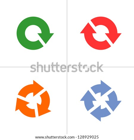 4 arrow pictogram refresh reload rotation loop sign set. Volume 04 (colored variation). Simple icon on white background. Mono solid plain flat minimal style. Vector illustration design elements 8 eps - stock vector