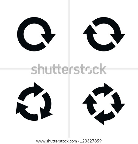 4 arrow pictogram refresh reload rotation loop sign set. Volume 03. Simple black icon on white background. Modern mono solid plain flat minimal style. Vector illustration web design elements 8 eps - stock vector
