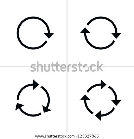 4 arrow pictogram refresh reload rotation loop sign set. Volume 01. Simple black icon on white background. Modern mono solid plain flat minimal style. Vector illustration web design elements 8 eps - stock vector