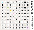 100 arrow sign icon set. Black pictogram on white circle shapes. Modern simple minimal, flat, solid, mono, monochrome, plain, contemporary style. Vector illustration web internet design element 8 eps - stock vector