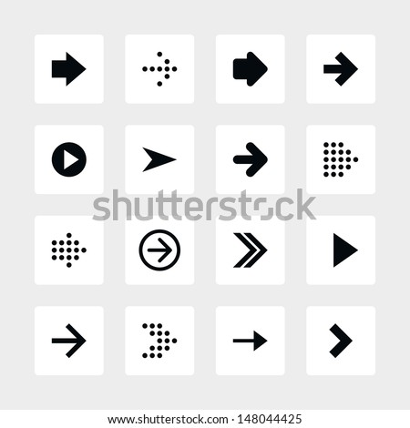 16 arrow sign icon set 01. Black pictogram on white rounded square button. Solid plain monochrome flat tile. Simple contemporary modern style. Web design element vector illustration 8 eps - stock vector