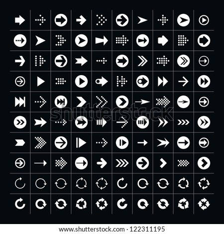 100 arrow sign icon set. Volume 1 (white version). Simple pictogram minimal, flat, solid, mono, monochrome, plain, contemporary 2-d style. Vector illustration web internet design elements saved 8 eps - stock vector