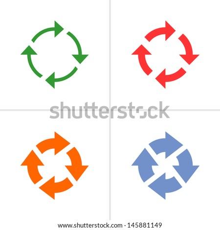 4 arrow sign rotation reset reload refresh pictogram set 04. Simple color icon on white background. Mono solid plain flat minimal style. Vector illustration web design elements 8 eps - stock vector