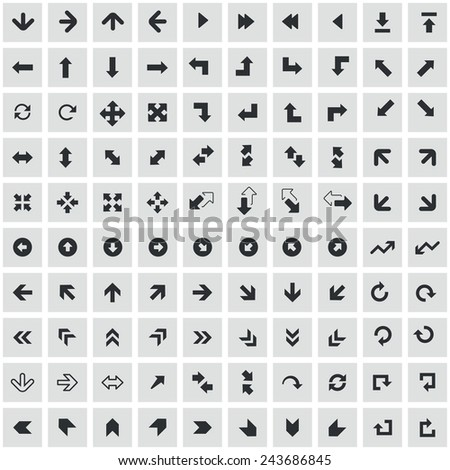 100 Arrows icons, black on square gray background - stock vector