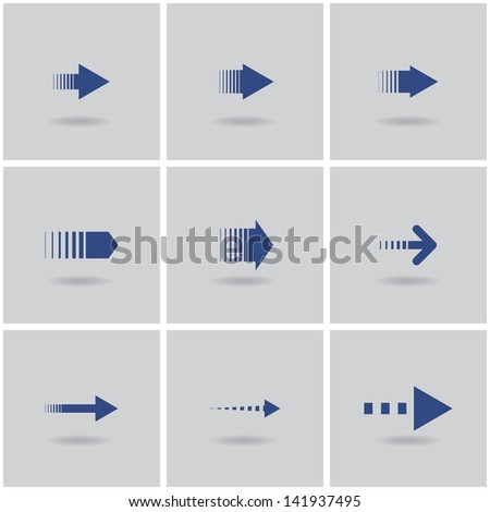 9 arrows. vector. set 2. eps10 - stock vector