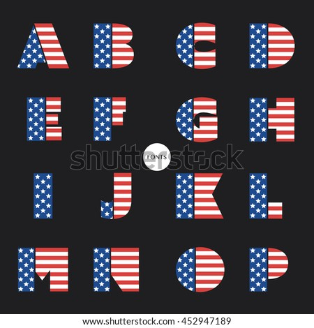 Art Deco Font Set with USA National Colors - Vintage Vector Design, Retro Typography - stock vector