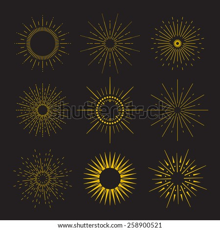 9 Art deco vintage sunbursts collection with geometric shape, light ray. Set of vintage sunbursts in different shapes. - stock vector