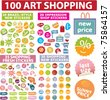 100 art shopping stickers & labels, vector - stock vector