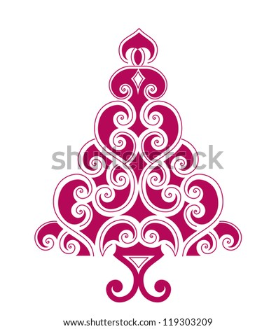 Artistic pine christmas tree - outline is solid line - stock vector