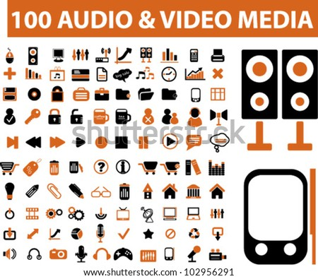 100 audio & media icons set. vector - stock vector