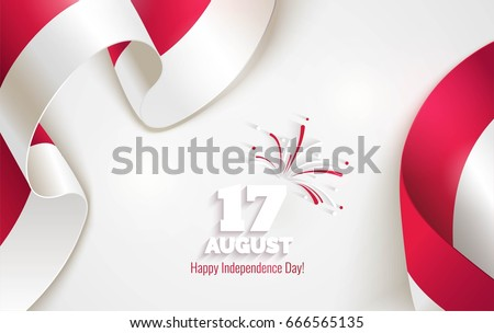 17 August. Indonesia Happy Independence Day greeting card. Waving indonesian flags isolated on white background. Patriotic Symbolic background  Vector illustration