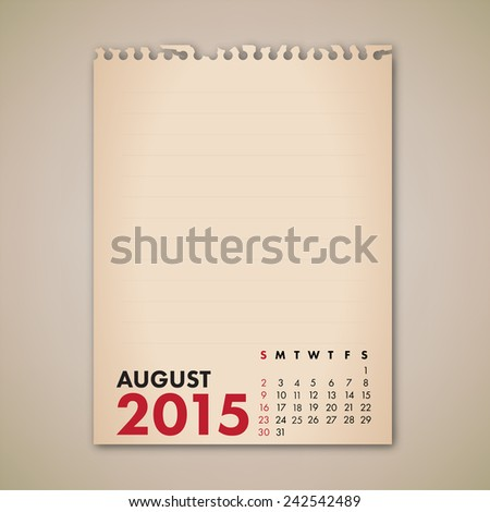 2015 August Old Note Paper Calendar Vector  - stock vector