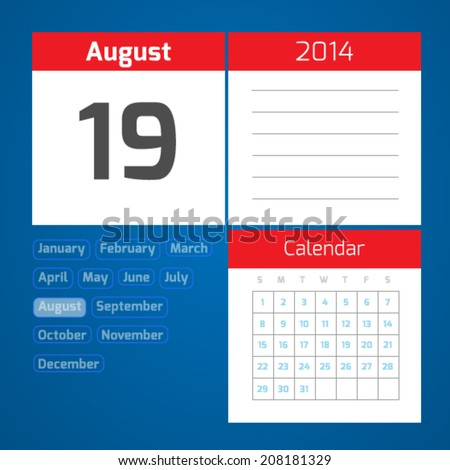 19 august - vector daily calendar on blue background - stock vector