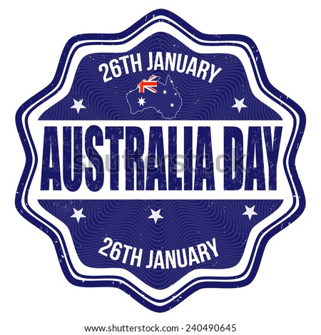 Australia day grunge rubber stamp on white background, vector illustration - stock vector